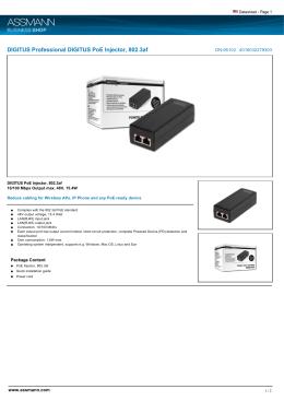 DIGITUS Professional DIGITUS PoE Injector, 802.3af