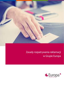 Zasady rozpatrywania reklamacji w Grupie Europa