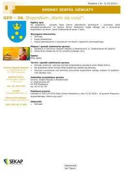 """GZO – 06. Stypendium """"Warto się uczyć""""."""