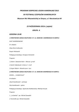 PROGRAM SIERPECKIEJ JESIENI KAMERALNEJ`2015 XII