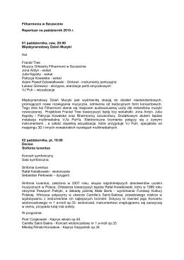 Filharmonia w Szczecinie - repertuar pażdziernik 2015 r
