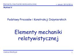 Elementy mechaniki relatywistycznej