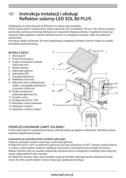 Instrukcja instalacji i obsługi Reflektor solarny