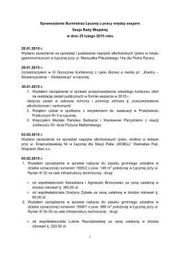 Sprawozdanie Burmistrza Łęcznej sesja 25.02.2015
