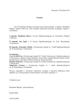 Jury III Szkolnego Konkursu Piosenek Jacka Kaczmarskiego w