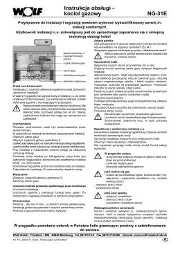 NG-31E Instrukcja obsługi - kocioł gazowy