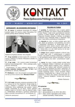 nr. 1-2015 - Zjednoczenie Polskie w Helsinkach