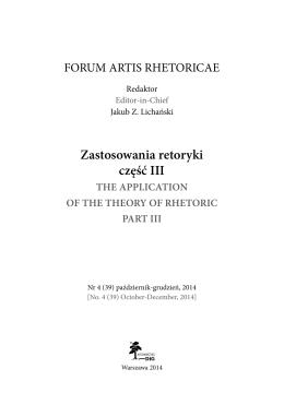 """Forum Artis Rhetoricae"" 4 (39)"