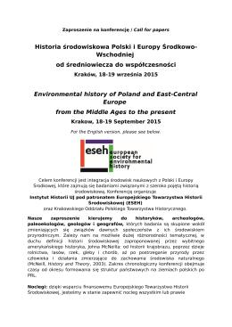 Historia środowiskowa Polski i Europy Środkowo