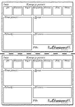 Koncepcja postaci: Imię: Umiejętności Sprzęt Notatki Historia PD