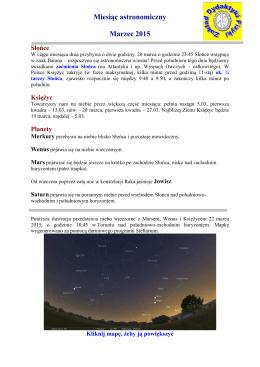 Miesiąc astronomiczny Marzec 2015
