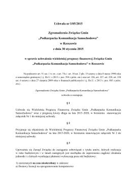 Uchwała nr I/05/2015 Zgromadzenia Związku Gmin