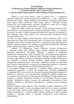 STANOWISKO IX Okręgowego Zjazdu Delegatów Polskiego