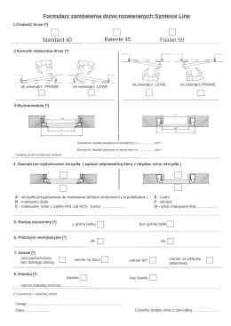 Formularz zamówienia do drzwi rozwieranych Syntesis Line