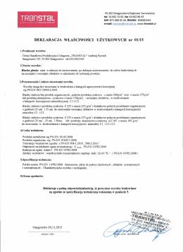 Deklaracja blacha płaska - pobierz pdf
