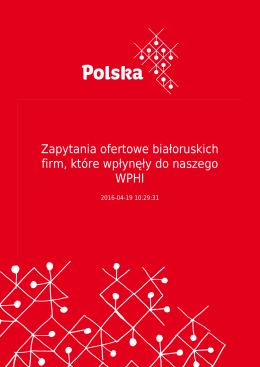 Zapytania ofertowe białoruskich firm, które wpłynęły do naszego WPHI