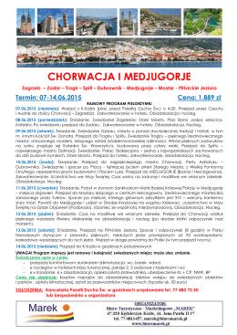 """Pielgrzymka Chorwacja i Medjugorje 2015 Parafia Ducha """"w. K"""