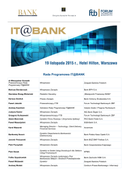 Rada Programowa IT@BANK - Konferencje :: aleBank.pl