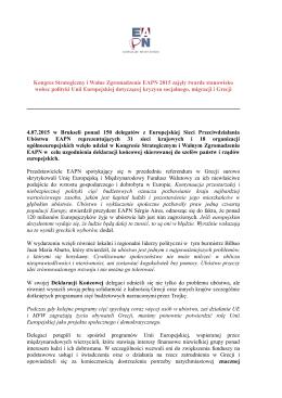 Deklaracja Końcowa Zgromadzenia Ogólnego EAPN 2015.