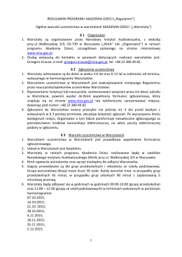 """REGULAMIN PROGRAMU AKADEMIA DZIECI (""""Regulamin"""