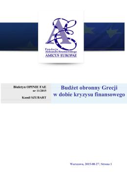 Budżet obronny Grecji w dobie kryzysu