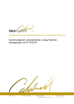 Cennik połączeń, abonamentów i usług Tlenofon obowiązujący od