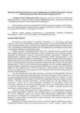 Informacja dodatkowa w sprawie podprogramu 2015