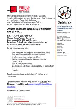 Flyer Szkolenie_PL17102015 - Polskie Centrum Kompetencyjne w