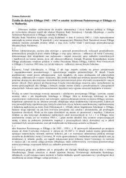 Źródła do dziejów Elbląga 1945 – 1947 w zasobie Archiwum