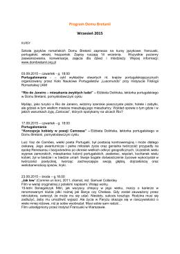 Program Domu Bretanii Wrzesień 2015