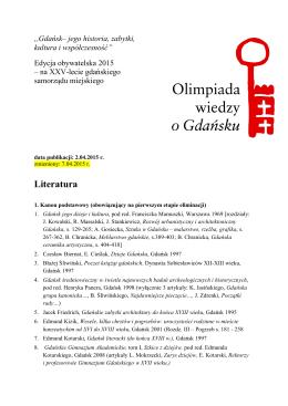 Literatura - Olimpiada wiedzy o Gdańsku
