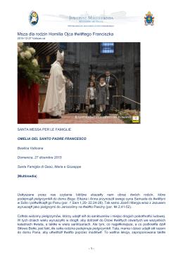 Msza dla rodzin Homilia Ojca #wi#tego Franciszka