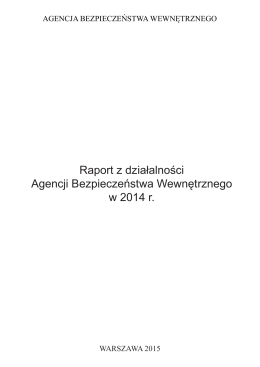 Raport z działalności ABW w 2014 r.