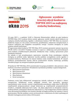 Ogłoszenie wyników trzeciej edycji konkursu TOPTEN 2015 na