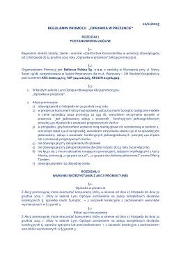 """12/11/2015 REGULAMIN PROMOCJI """"OPRAWKA W"""
