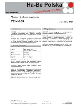 Alkaliczny środek do czyszczenia - REINIGER