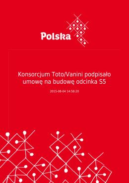 Konsorcjum Toto/Vanini podpisało umowę na budowę odcinka S5