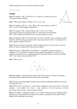 Zadania przygotowawcze do konkursu matematycznego