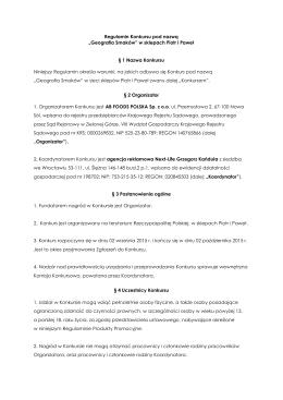 """Regulamin Konkursu pod nazwą """"Geografia Smaków"""" w sklepach"""