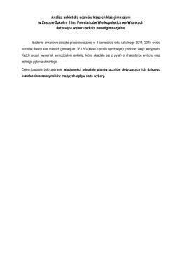 Analiza ankiet dla uczniów trzecich klas gimnazjum w Zespole Szkół
