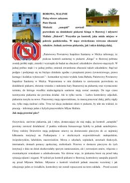 BOROWA, MALINIE Pieką wbrew zakazom Piotr Durak Mielecki