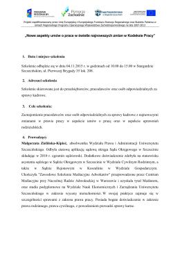 """""""Nowe aspekty umów o prace w świetle najnowszych zmian w"""
