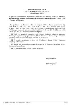 ZARZĄDZENIE NR 190/15 PREZYDENTA MIASTA SZCZECIN z