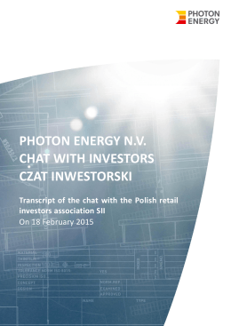 photon energy nv chat with investors czat inwestorski