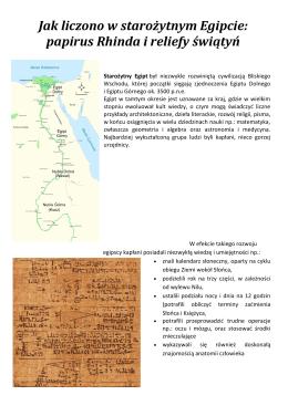 Jak liczono w starożytnym Egipcie: papirus Rhinda i reliefy świątyń