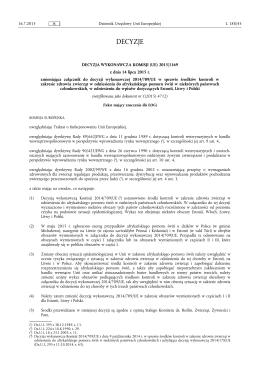 Decyzja wykonawcza Komisji (UE) 2015/1169 z dnia 14 lipca 2015 r