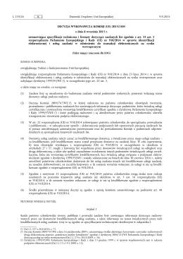 Decyzja wykonawcza Komisji (UE) 2015/1505 z dnia 8 września