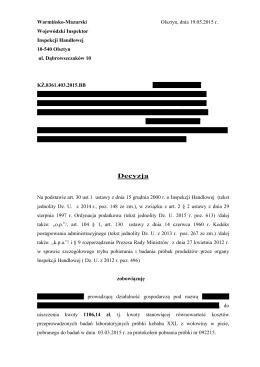 Decyzja 2 - Wojewodzki Inspektorat Inspekcji Handlowej w Olsztynie