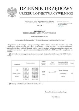 Decyzja Nr 47 z dnia 8 października 2015 r.
