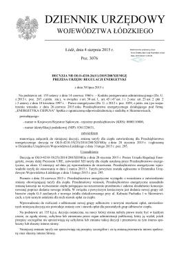 Decyzja Nr OŁO-4210-26(11)/2015/280/XII/MGę z dnia 30 lipca